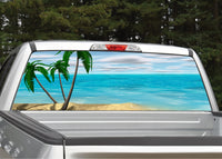 Beach Scene #4 Palm Trees Rear Window Decal