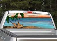 Beach Scene #5 Palm Trees Rear Window Decal