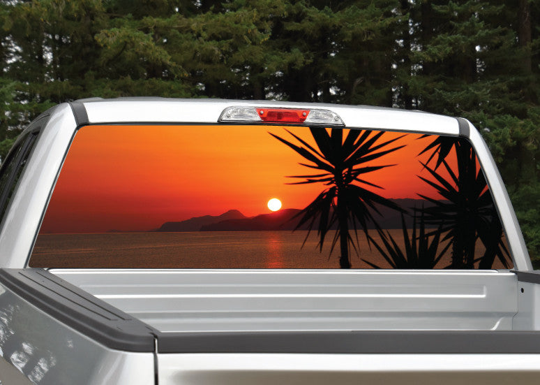Beach Sunset #3 Palm Trees Rear Window Decal