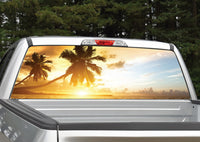 Beach Sunset Palm Trees Rear Window Decal