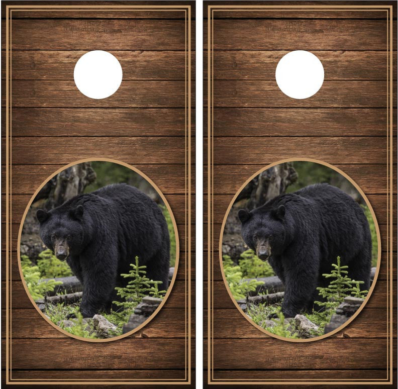 Black Bear #2 Wood Background