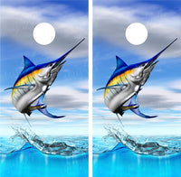 Blue Marlin Jumping Out of Water Fishing Cornhole Wraps