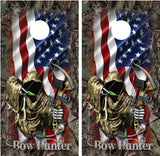Bow Hunter Grim Reaper American Flag Camo Border