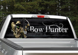 Bow Hunter Grim Reaper Black Wood Rear Window Decal