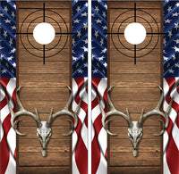 Buck Deer Skull American Flag Wood Cross Heirs