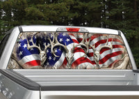 Buck Deer Skull American Flag Camo Rear Window Decal