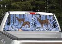 Deer Buck Winter Scene Rear Window Decal