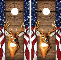 Buck Deer #2 American Flag Wood Cross Heirs