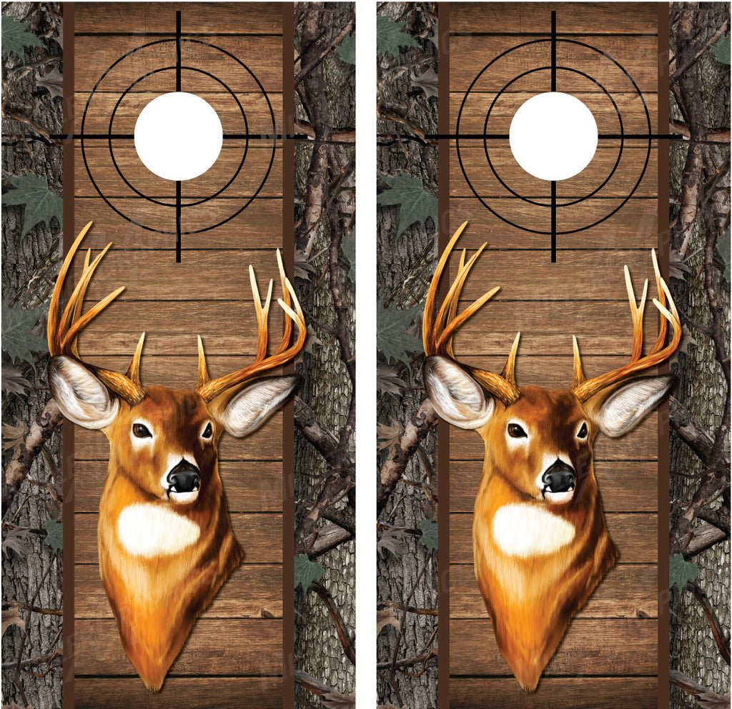 Buck Deer #2 Camo Wood Cross Heirs