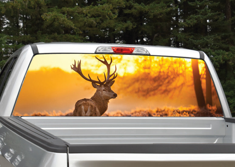 Buck Elk Sunset #2 Rear Window Decal
