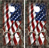 Buck Deer Skull American Flag Faded Camo