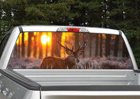Buck Elk Sunset #3 Rear Window Decal