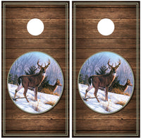 Buck Winter Scene Wood Background