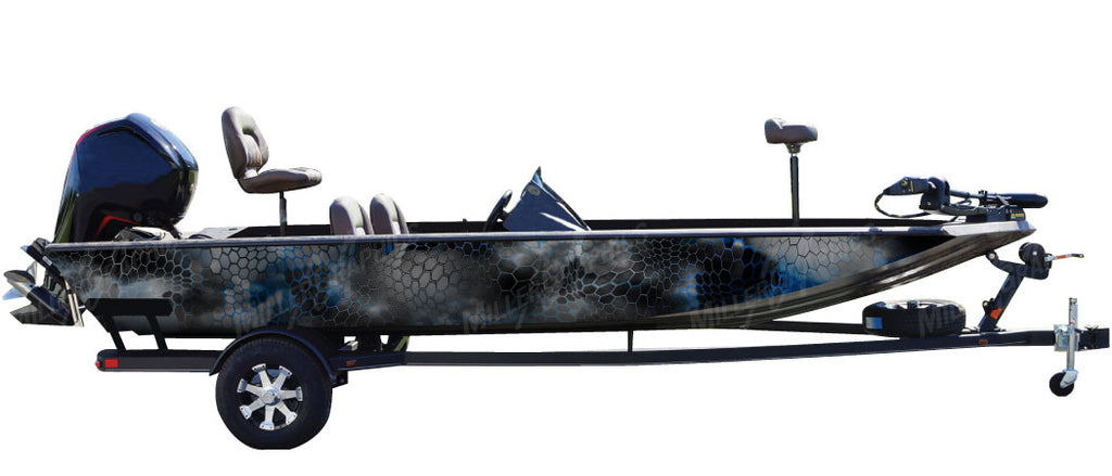 "Chameleon ""Black and Blue"" Camo Boat Wrap Kit"