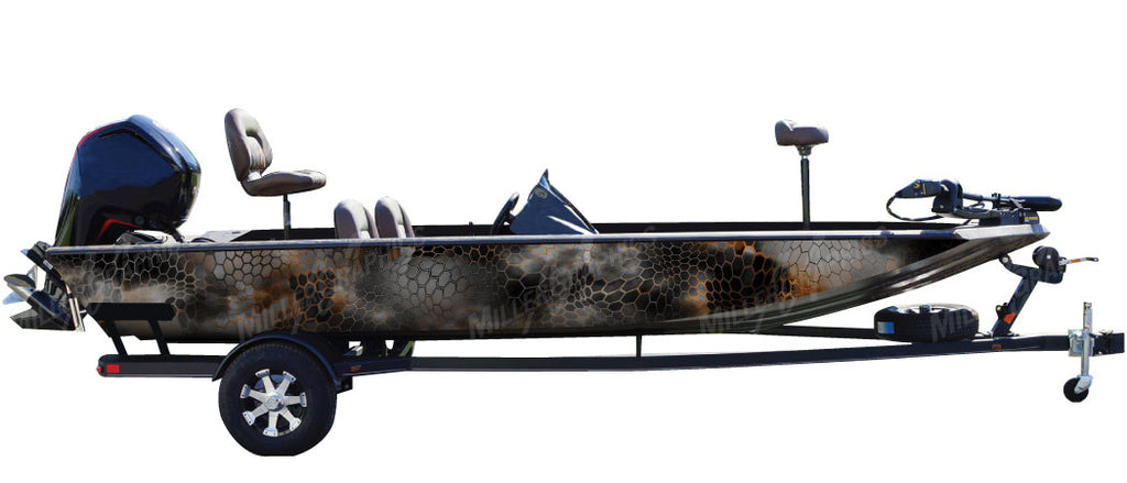 "Chameleon ""Black and Orange"" Camo Boat Wrap Kit"