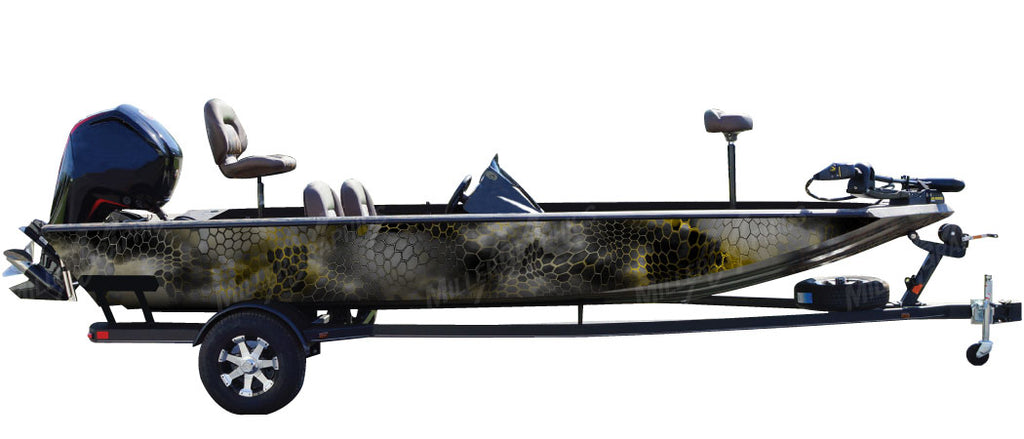 "Chameleon ""Black and Yellow"" Camo Boat Wrap Kit"