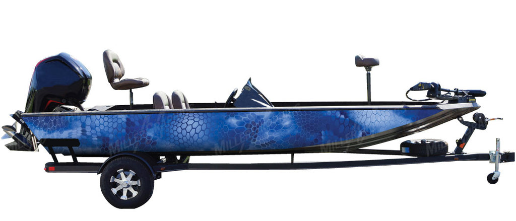 Chameleon Blue Camo Boat Wrap Kit