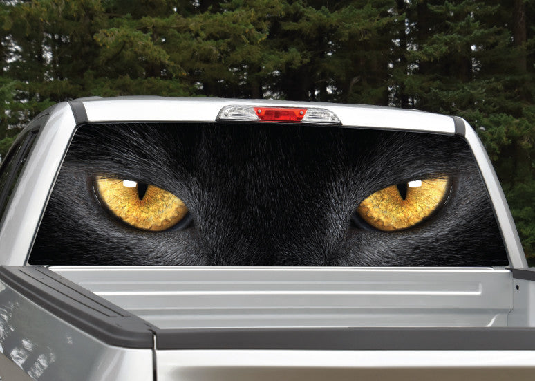 Panther Cat Eyes (Yellow) Rear Window Decal