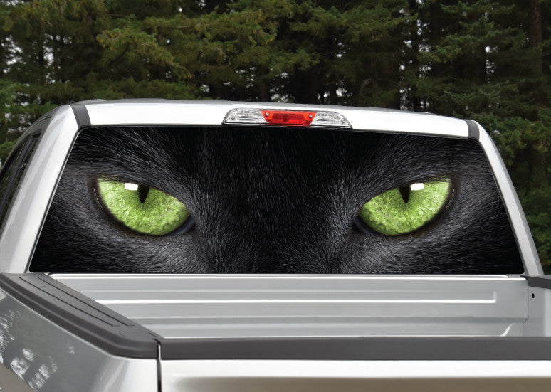 Panther Cat Eyes (Green) Rear Window Decal