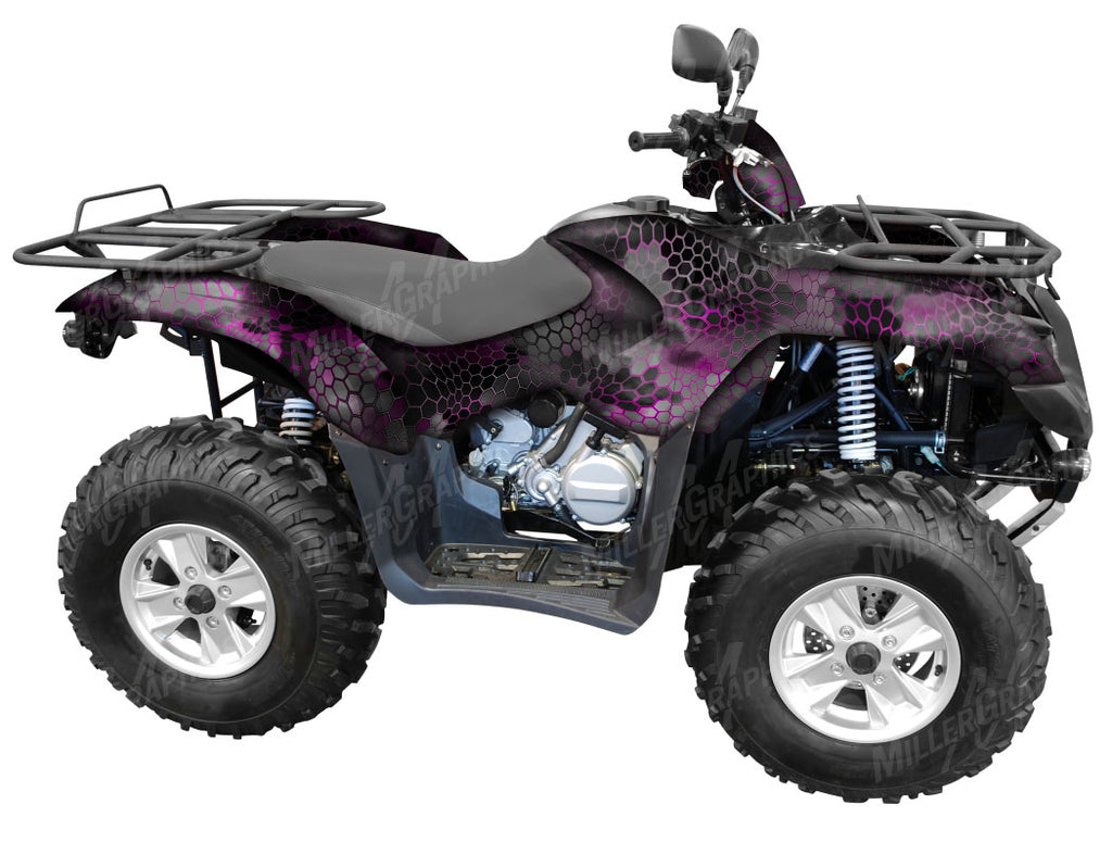 "Chameleon ""Black and Pink"" Camo ATV Wrap Kit"