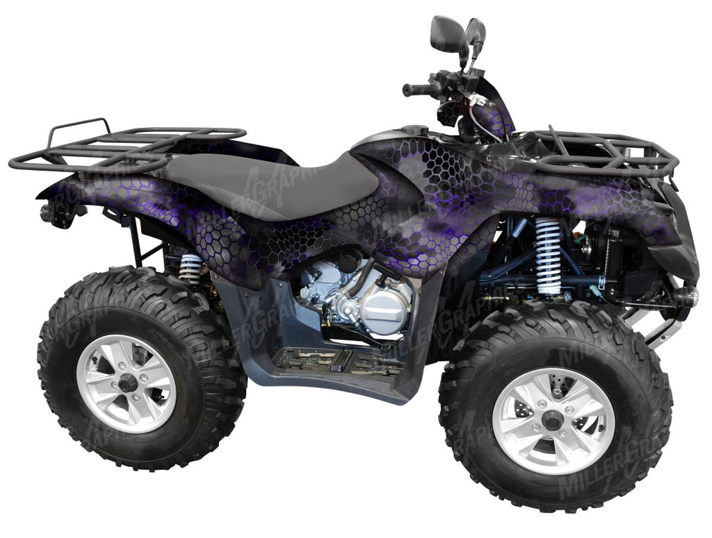 "Chameleon ""Black and Purple"" Camo ATV Wrap Kit"