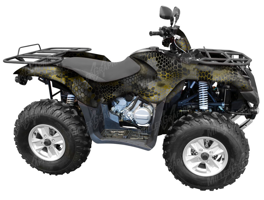 "Chameleon ""Black and Yellow"" Camo ATV Wrap Kit"
