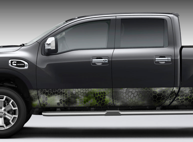 "Camo Chameleon Reptile Skin ""Black and Green"" Rocker Panel Decal Kit"