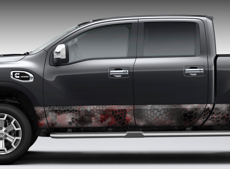 "Camo Chameleon Reptile Skin ""Black and Red"" Rocker Panel Decal Kit"