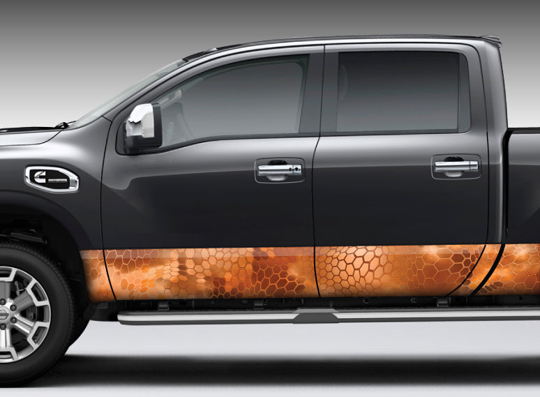 "Camo ""Chameleon Orange"" Reptile Skin Rocker Panel Decal Kit"