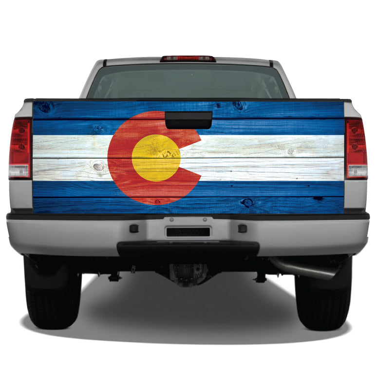 Colorado Flag Distressed Wood Vintage Tailgate Wrap