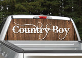 Country Boy Distressed Wood Rear Window Decal
