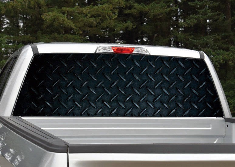 Diamond Plate (Black) Rear Window Decal