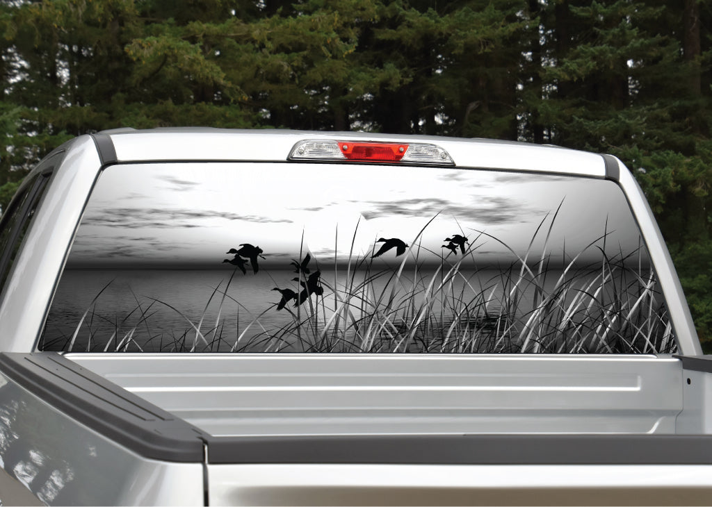 Ducks Flying Scenery (black and white) Rear Window Decal