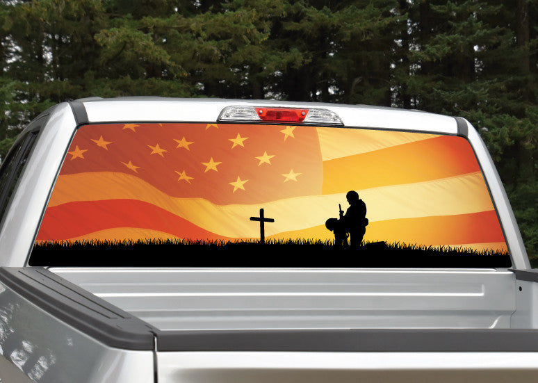 Fallen Warrior American Flag Sunset Rear Window Decal