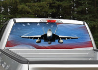 Fighter Jet American Flag Rear Window Decal