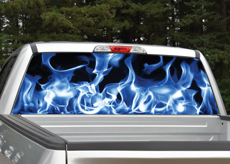 Pick-Up Truck Perforated Rear Window Wrap This Truck is On Fire