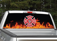 Firefighter Emblem Flames Rear Window Decal