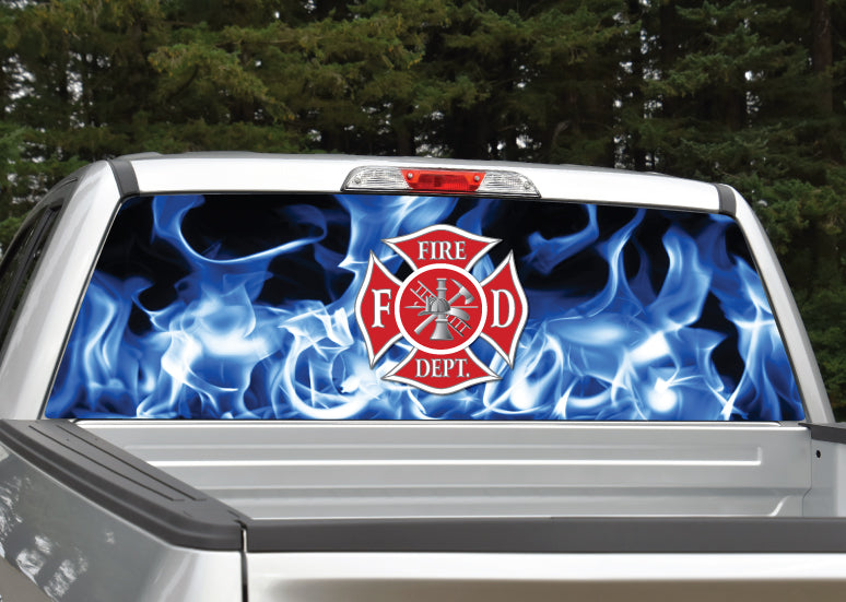 Firefighter Emblem Blue Flames Rear Window Decal