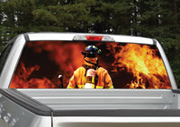 Firefighter Flames Rear Window Decal