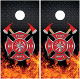 Firefighter Emblem Diamond Plate FIames