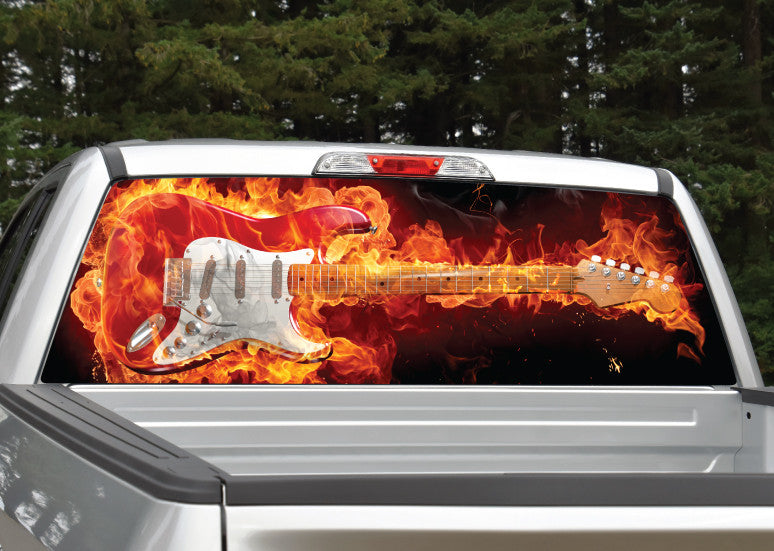 Guitar on Fire Rear Window Decal