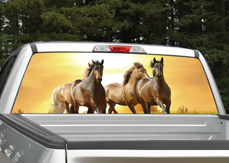 Horses Running Sunset Rear Window Decal