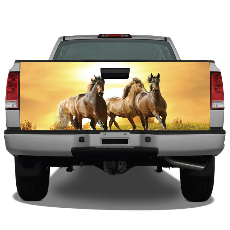 Horses Running at Sunset Tailgate Wrap