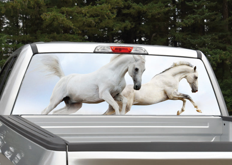 Horses Running (White) Rear Window Decal