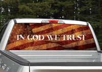 In God We Trust Distressed American Flag Rear Window Decal