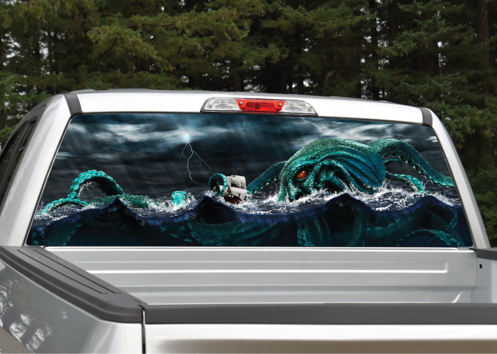 Kraken Sea Monster Nautical Rear Window Decal