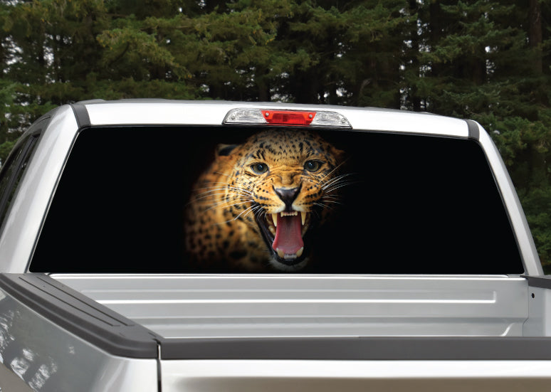 Leopard Jaguar Growling Rear Window Decal