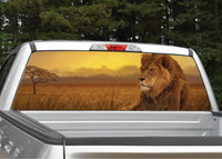Lion In The Sunset Rear Window Decal