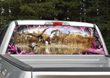 "Mallard Ducks Camo Border ""Obliteration Pink"" Rear Window Decal"