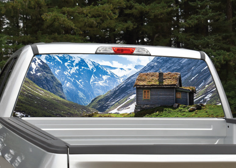 Mountain Scenery Old Cabin Rear Window Decal